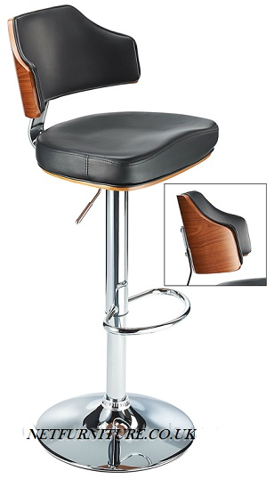 Concert Adjustable Bar Stool with Footrest, Back Support and Cushioned Seat