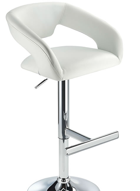 Mesoni Kitchen Breakfast Bar Stool T Bar Footrest white Padded Seat Height Adjustable