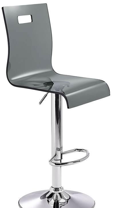 Romeo Acrylic Transparent Kitchen Breakfast Bar Stool Height Adjustable Black Seat