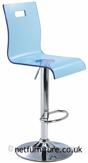 Romeo Acrylic Transparent Kitchen Breakfast Bar Stool Height Adjustable Blue Seat