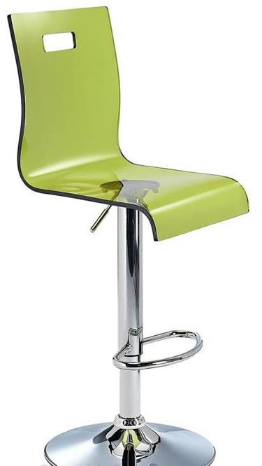 Romeo Acrylic Transparent Kitchen Breakfast Bar Stool Height Adjustable Green Seat