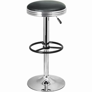 Tipon Retro Modern Chrome Kitchen Bar Stool Black/White Padded Seat Height Adjustable