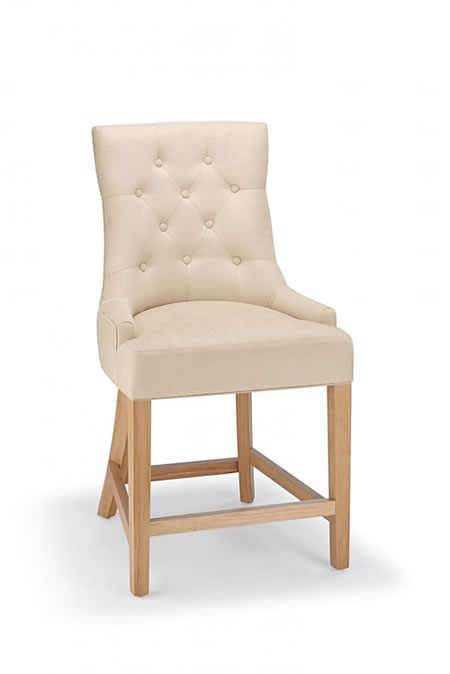 Rochjo Kitchen Breakfast Bar Stool Oak Frame Fabric Seat Fixed Height