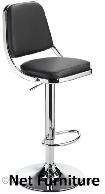 Rami Chrome Bar Stool - Padded and Adjustable