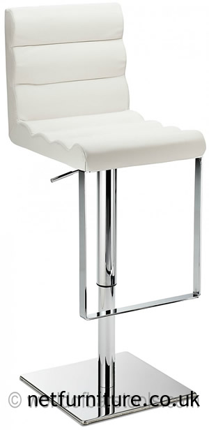 Regal White Kitchen Bar Stool Padded Adjustable Chrome Frame and Footrest