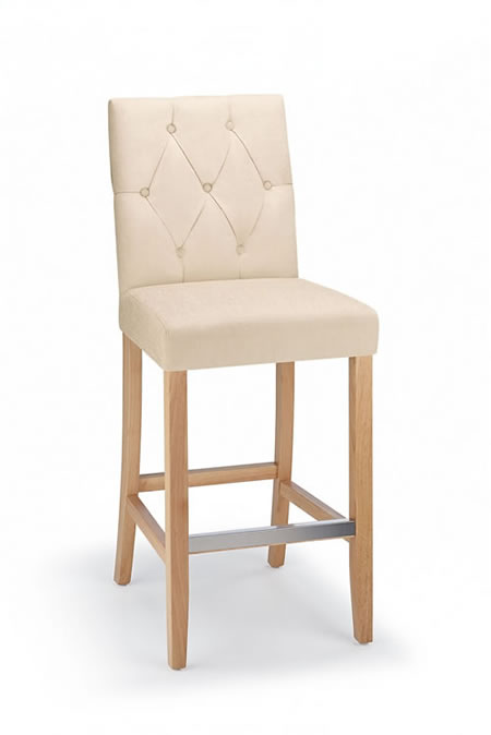 Rosco Oak Frame Bar Stool Padded Fabric Seat And Back Fixed Height 4 Colour Option