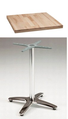 Ramoa Chrome and Wood Bar Table - Adjustable Bar/Coffee/Dining