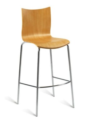 Reso Chrome and Wood Bar Stool