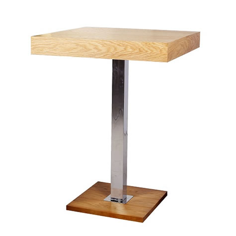 Gresone Tall Bar Poseur Table Square Oak Top Stainless Steel Frame