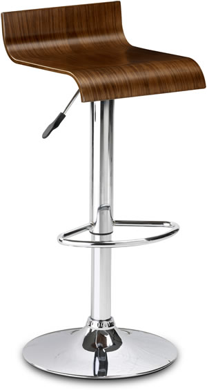 santos walnut adjustable swivel kitchen bar stool