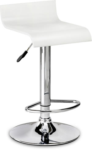 Santos Bar Stool - White Adjustable