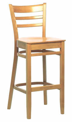 Linker slatted wooden back high kitchen bar stools Fully pre assembled