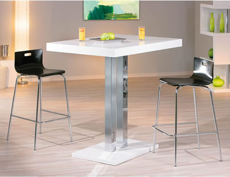 Rasqon Tall Kitchen White Poseur Bar Table White High Gloss Square Top
