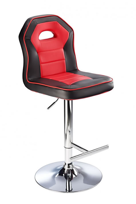 Sazon modern kitchen breakfast bar stool black and red padded seat height adjustable