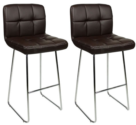 Pair Krislend Chrome and Padded Kitchen Breakfast Bar Stools Fixed Height Various Colours Curved Frame
