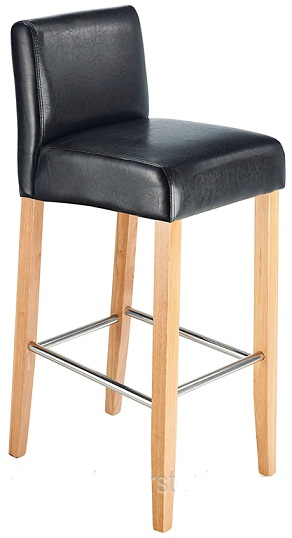 Stenory Black Padded Kitchen Breakfast Bar Stool Wooden Frame and Legs