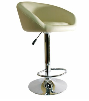 Froor Faux Leather and Chrome Stool - Adjustable with Padded Seat And Back
