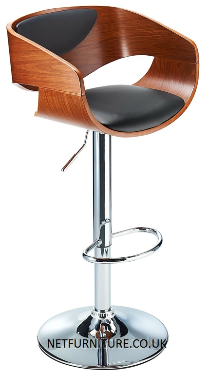 Apex Wooden Adjustable Bar Stool in Walnut or Oak