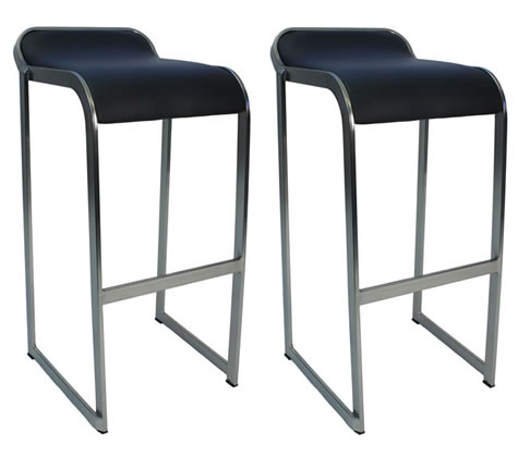 Surga Pair of Kitchen Bar Stools Black Fixed Height Padded Seat Brushed Chrome Frame