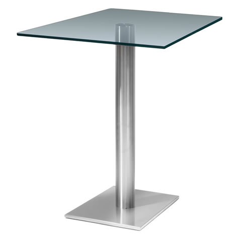 surgan square clear tall poseur glass dining kitchen table - Stainless Steel Finish