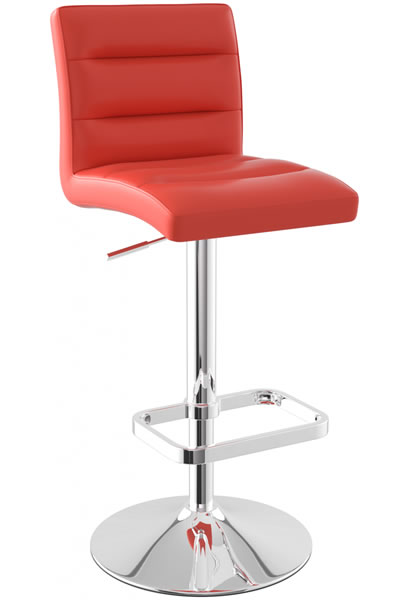 Castone Height Adjustable Bar Stool with ribbed faux leather padded seat and chrome base