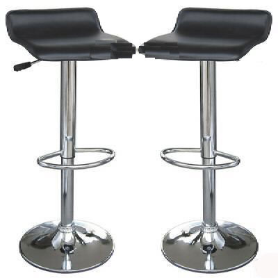 Lowcome 2 x faux leather low back black breakfast kitchen bar stools