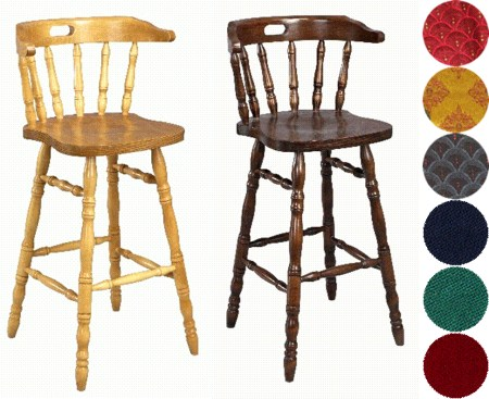 Hampton Wood Bar Stool - Padded or Unpadded Seat Option