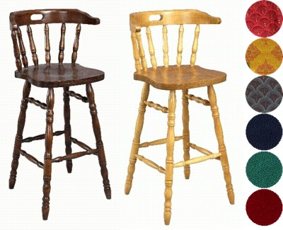 2 Tasra Wood Bar Stools - Padded or Unpadded Option Fully Assembled