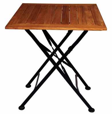 Teak courtyard folding square table