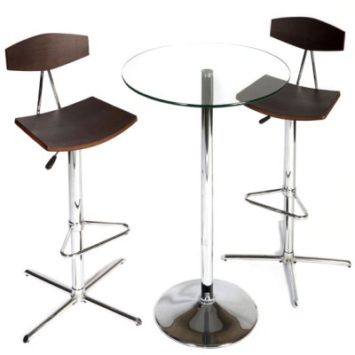Chel Round Glass Bar Table and 2 Stools
