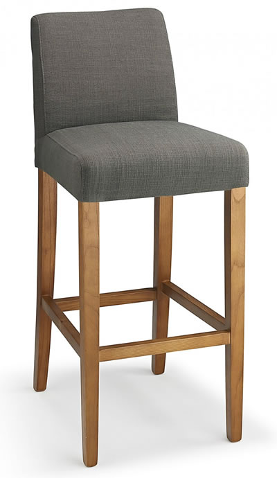 Farzom Grey Fabric Seat Kitchen Breakfast Bar Stool Wooden Frame Fully Assembled