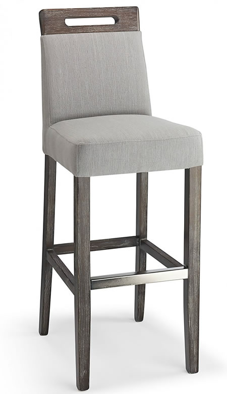 Modomi grey fabric seat kitchen breakfast bar stool wooden frame fully assembled