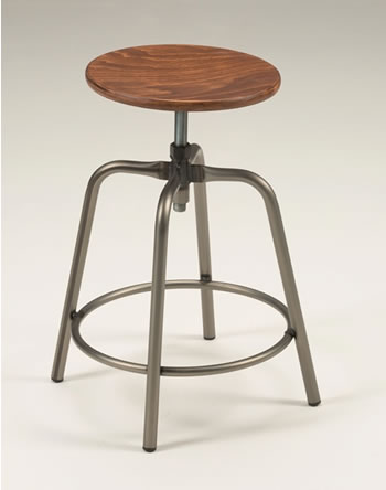 Taymon Satin Wood Swivel Stool