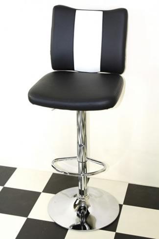 Tarina Retro Style Kitchen Breakfast Bar Stool American Diner Style Black Padded Seat Height Adjustable