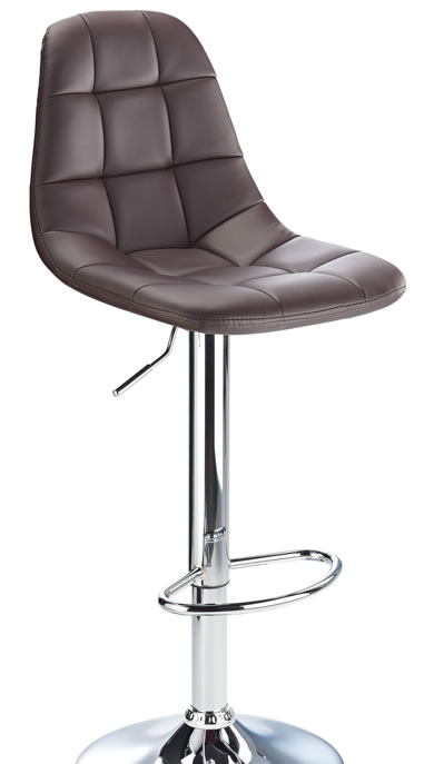 kazan brown kitchen bar stool padded seat and back height adjustable chrome frame
