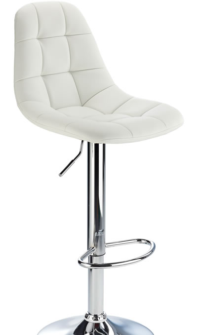 kazan white kitchen bar stool padded seat and back height adjustable chrome frame