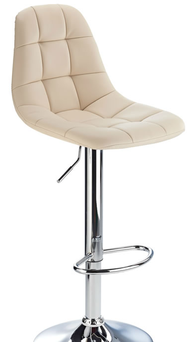 kazan cream kitchen bar stool padded seat and back height adjustable chrome frame