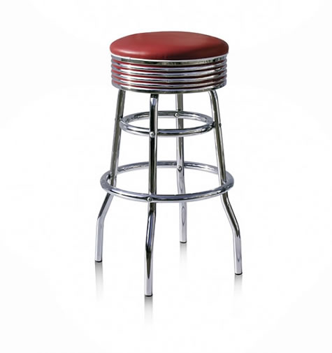 Versoni kitchen bar stool retro fifties ruby red padded Fully Assembled