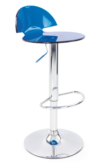 Tapoy Translucent Kitchen Height Adjustable Bar Stool - Blue
