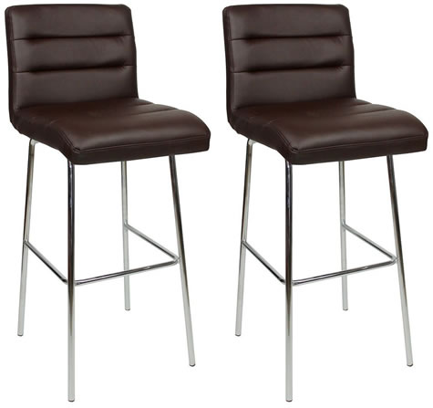 Pair Lafingo Chrome and Padded Kitchen Breakfast Bar Stools Fixed Height Various   Colours 4 Leg Chrome Frame