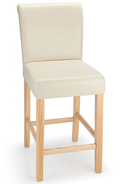 Sayni Oak Frame Kitchen Bar Stool Cream Padded Seat And Back