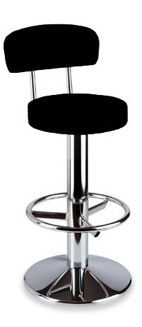 stylish tuscane bar stool with chrome steel and black padded swivel seat
