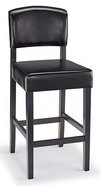 Laponte Kitchen Bar Stool Black Bonded Leather And Walnut Wood Frame