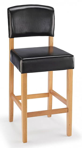 Laponey Kitchen Bar Stool Black Bonded Leather And Oak Wood Frame