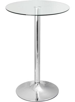 Vatori Tall Poseur Clear or Black Glass Bar Kitchen Table