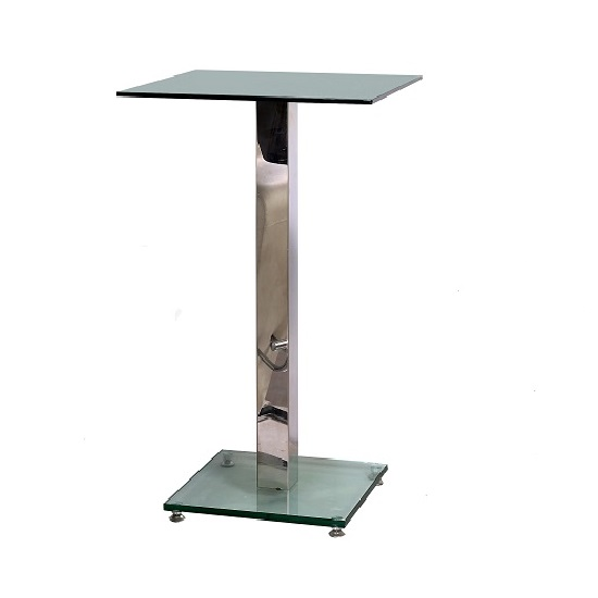 Voak Square Glass Modern Tall Kitchen Bar Table In Clear Glass With Chrome Supports