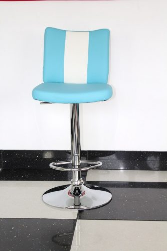 Tarina Retro Style Kitchen Breakfast Bar Stool American Diner Style Blue Padded Seat Height Adjustable