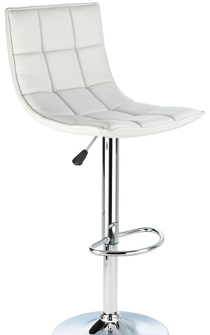 Andrea Height Adjustable Kitchen Bar Stool White Padded Seat