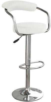 Drenzy white padded kitchen bar stool with back height adjustable