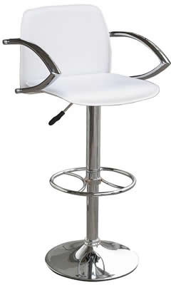 Nerckile white seat padded stool with chrome arms and back